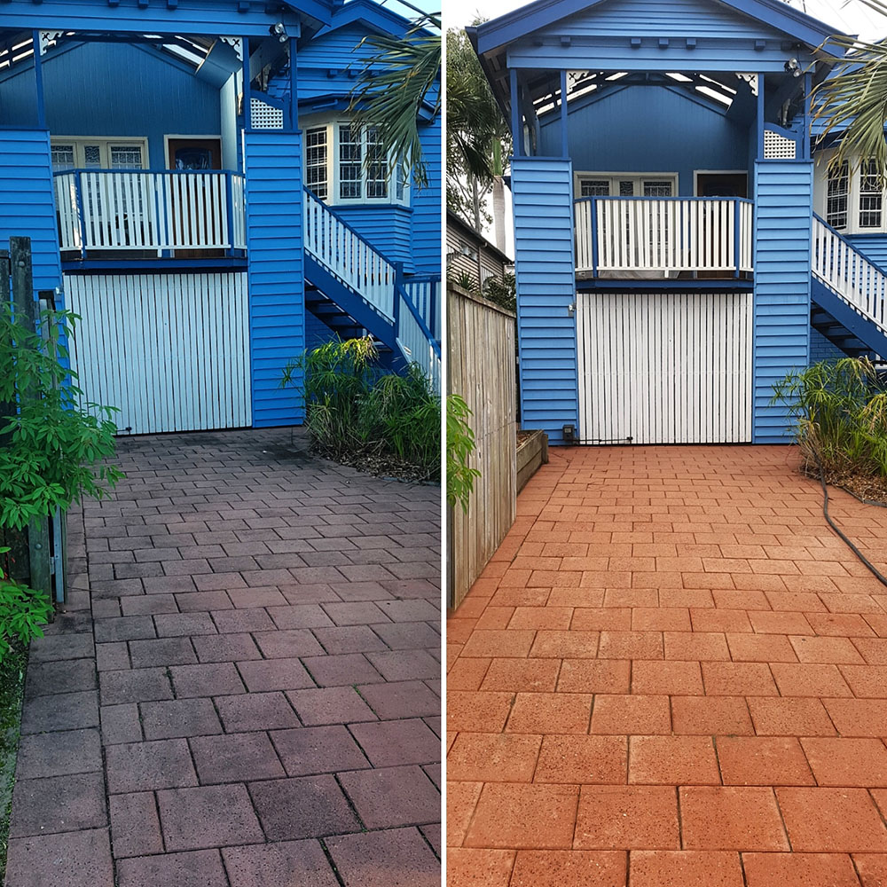 Before and after photos of a residential driveway pressure clean.